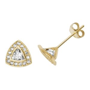 Trillion Shaped Bling 9ct Yellow Gold Studs