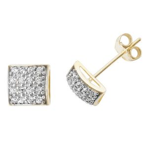 Square Bling 9ct Yellow Gold Studs