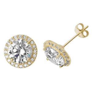 Round Shaped Stud Earrings in 9ct Yellow Gold