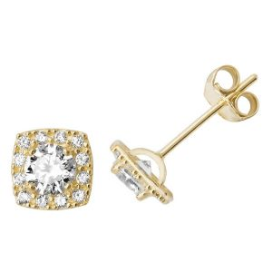 Square Shaped Stud Earrings in 9ct Yellow Gold
