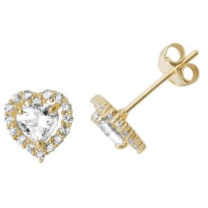 Heart Shaped Stud Earrings in 9ct Yellow Gold