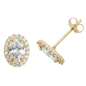 Oval Shaped Stud Earrings in 9ct Yellow Gold