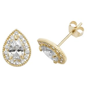 Pear Shaped Stud Earrings in 9ct Yellow Gold
