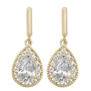 Pear Shaped Drop Earrings in 9ct Yellow Gold