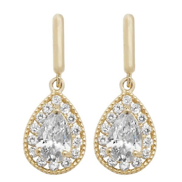 Pear Shaped Drop Earrings in 9ct Yellow Gold