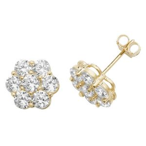 Cluster Style Stud Earrings in 9ct Yellow Gold