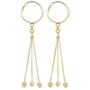 Stylish 3 Strand Drop Earring in 9ct Yellow Gold