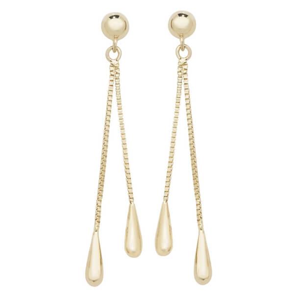 Elongated Teardrop Stud Earrings in 9ct Yellow Gold