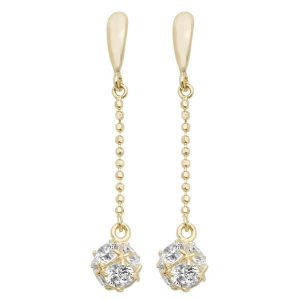 Ball and Chain Style Drop Earrings in 9ct Yellow Gold