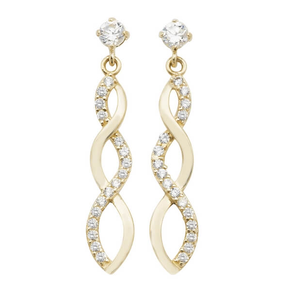 Twisted Drop 9ct Yellow Gold Stud Earrings