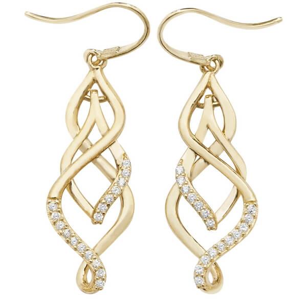 9ct Yellow Gold Shepherds Hook Drop Earrings