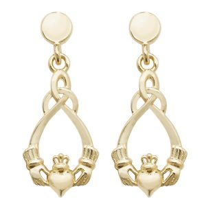 Claddagh Style Drop Earrings in 9ct Yellow Gold