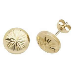 Round Engraved Sunburst 9ct Yellow Gold Stud Earrings