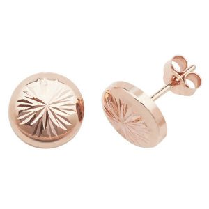 Round Engraved Sunburst 9ct Red Gold Stud Earrings