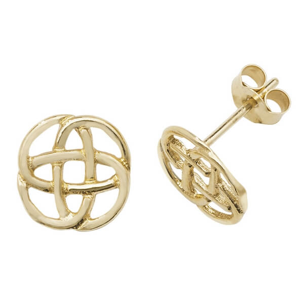 Gordian Knot Style 9ct Yellow Gold Stud Earrings