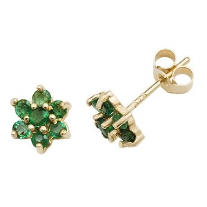 Daisy Style Emerald Stud Earrings in 9ct Yellow Gold
