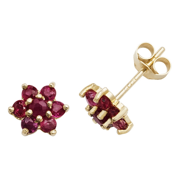 Daisy Style Ruby Stud Earrings in 9ct Yellow Gold