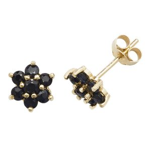 Daisy Style Sapphire Stud Earrings in 9ct Yellow Gold