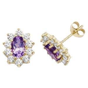 Prong Set Oval Shaped Amethyst and CZ Set Stud Earrings in 9ct Yellow Gold