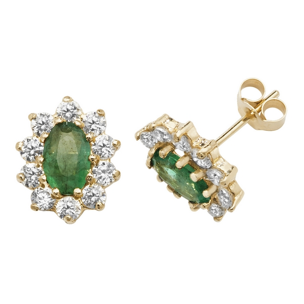 Prong Set Oval Shaped Emerald and CZ Set Stud Earrings in 9ct Yellow Gold
