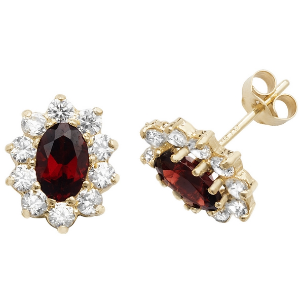 Prong Set Oval Shaped Garnet and CZ Set Stud Earrings in 9ct Yellow Gold