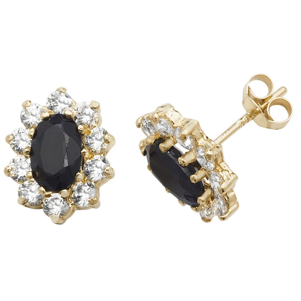 Prong Set Oval Shaped Sapphire and CZ Set Stud Earrings in 9ct Yellow Gold