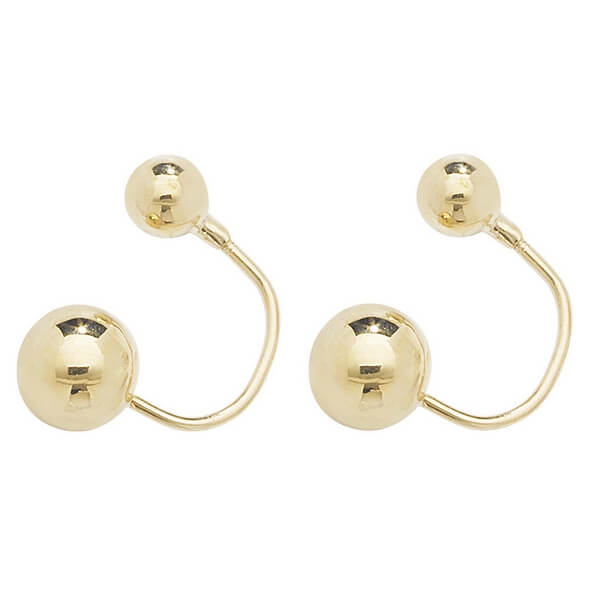 Double Sided Stud Earrings in Plain 9ct Yellow Gold
