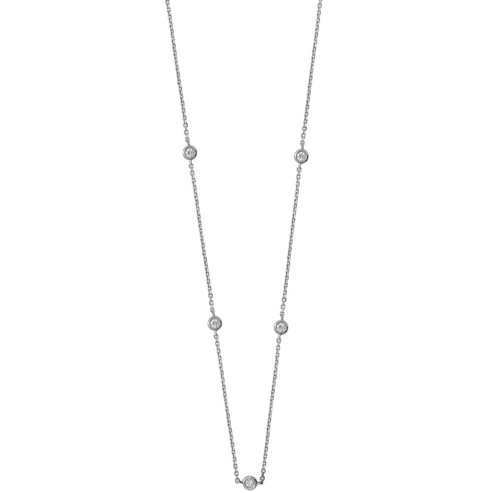 Bezel-Set Stationed Diamond Necklace in 9ct White Gold (0.35ct)