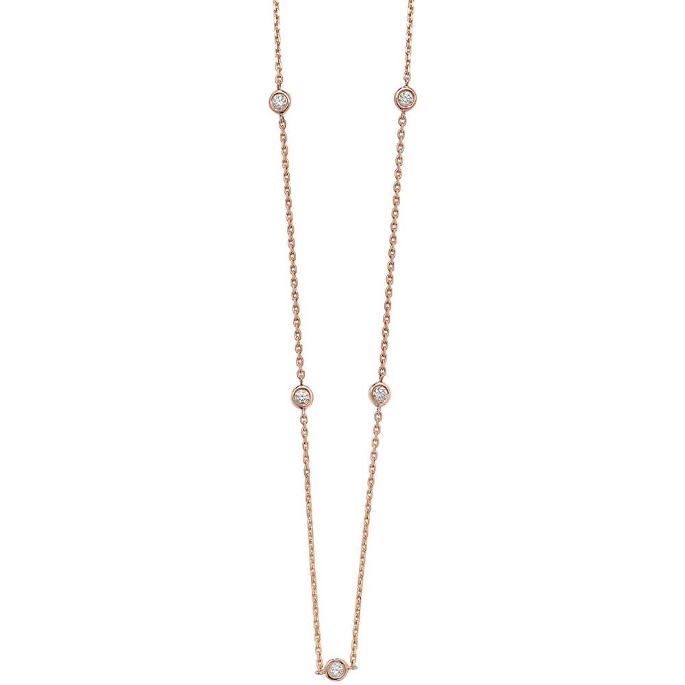 Bezel-Set Stationed Diamond Necklace in 18ct Red Gold (0.35ct)