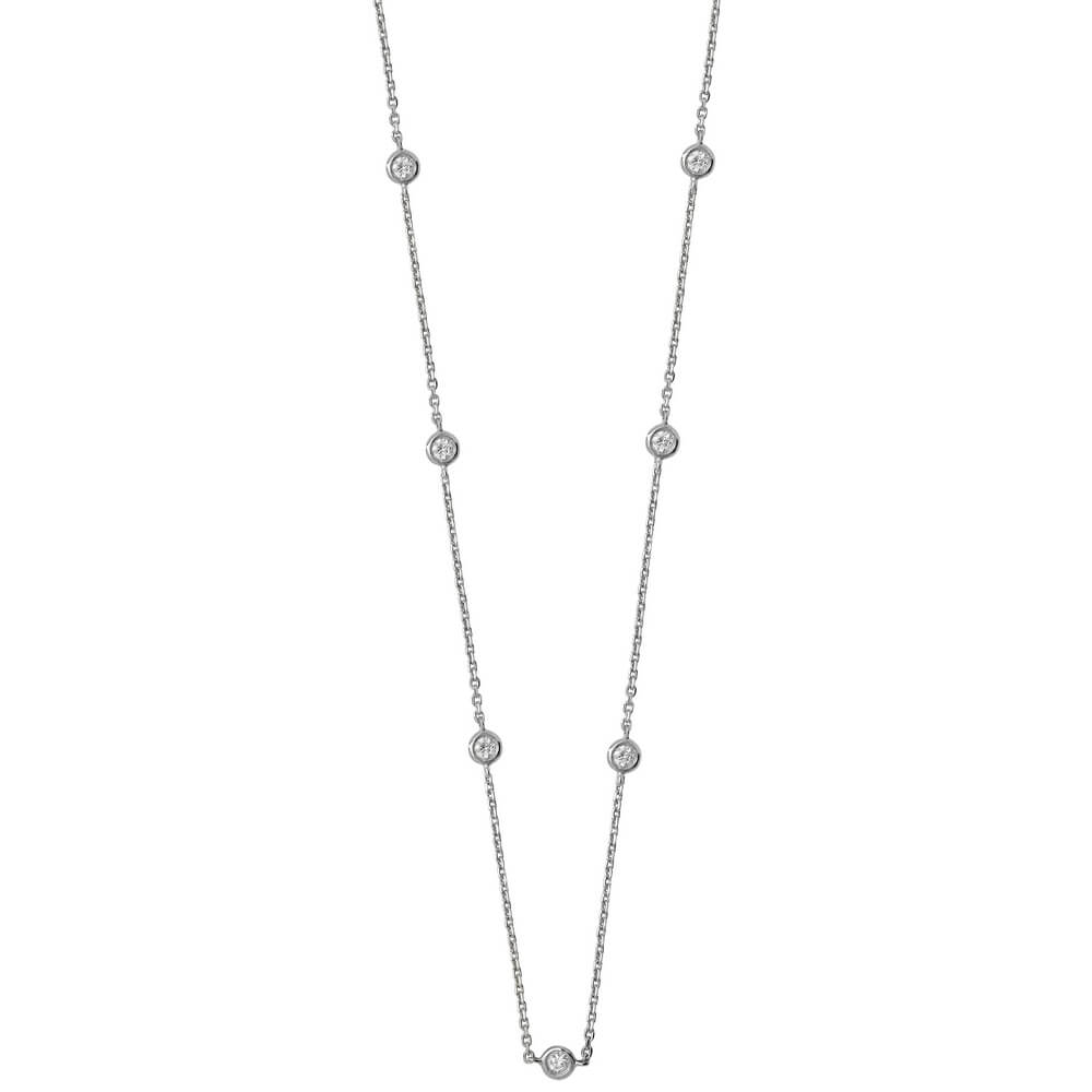 Bezel-Set Stationed Diamond Necklace in 18ct White Gold (0.50ct)