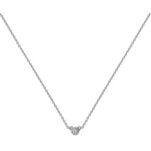 Solitaire Bezel Set Diamond Necklace in 18ct White Gold (0.09ct)