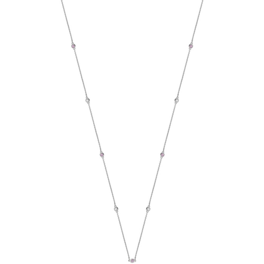 Diamond and Pink Sapphire Necklace in 18ct White Gold
