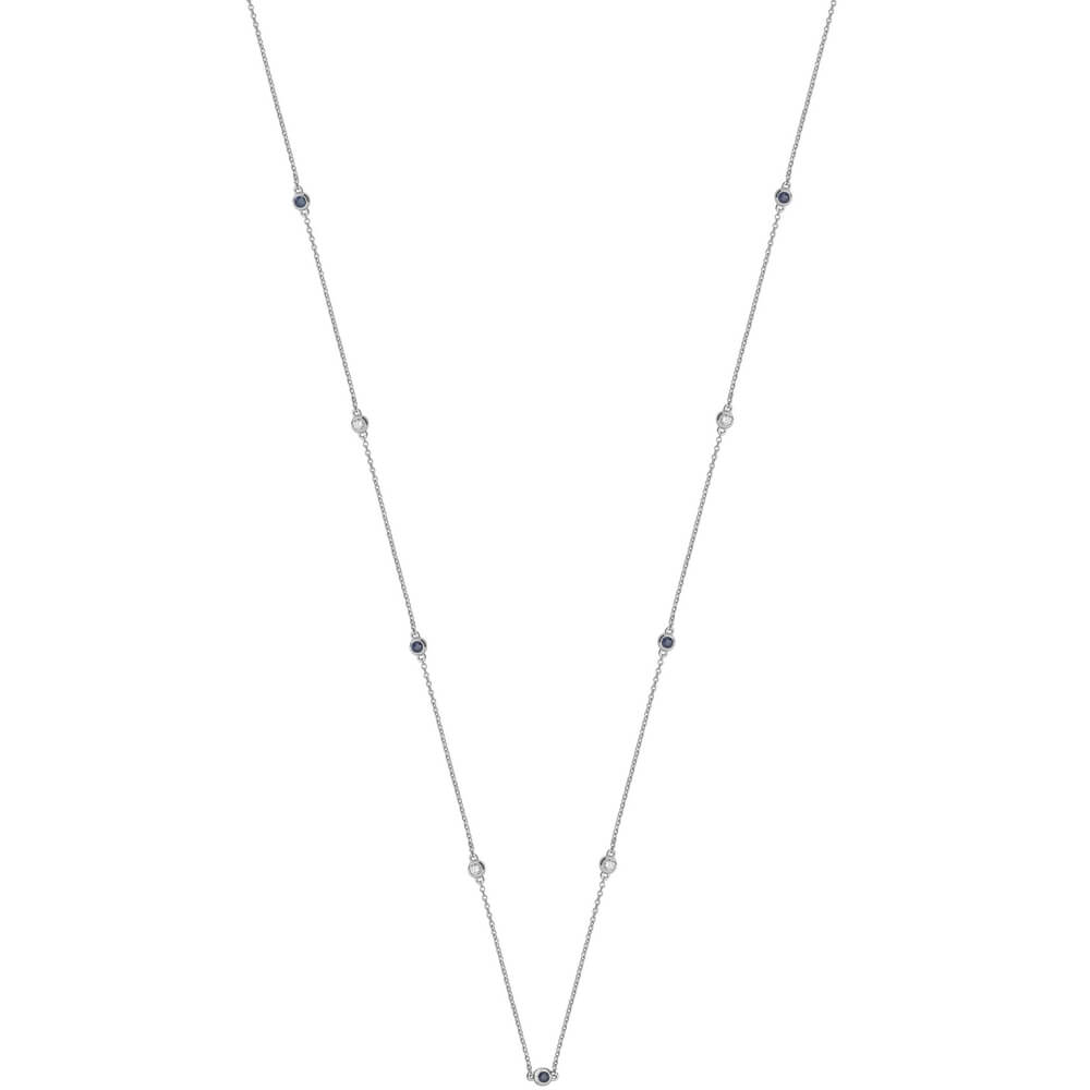 Diamond and Sapphire Necklace in 18ct White Gold