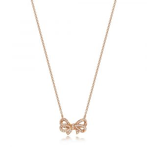Diamond Set Bow Design Necklace in 18ct Red Gold (0.30ct)