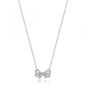 Diamond Set Bow Design Necklace in 18ct White Gold (0.30ct)
