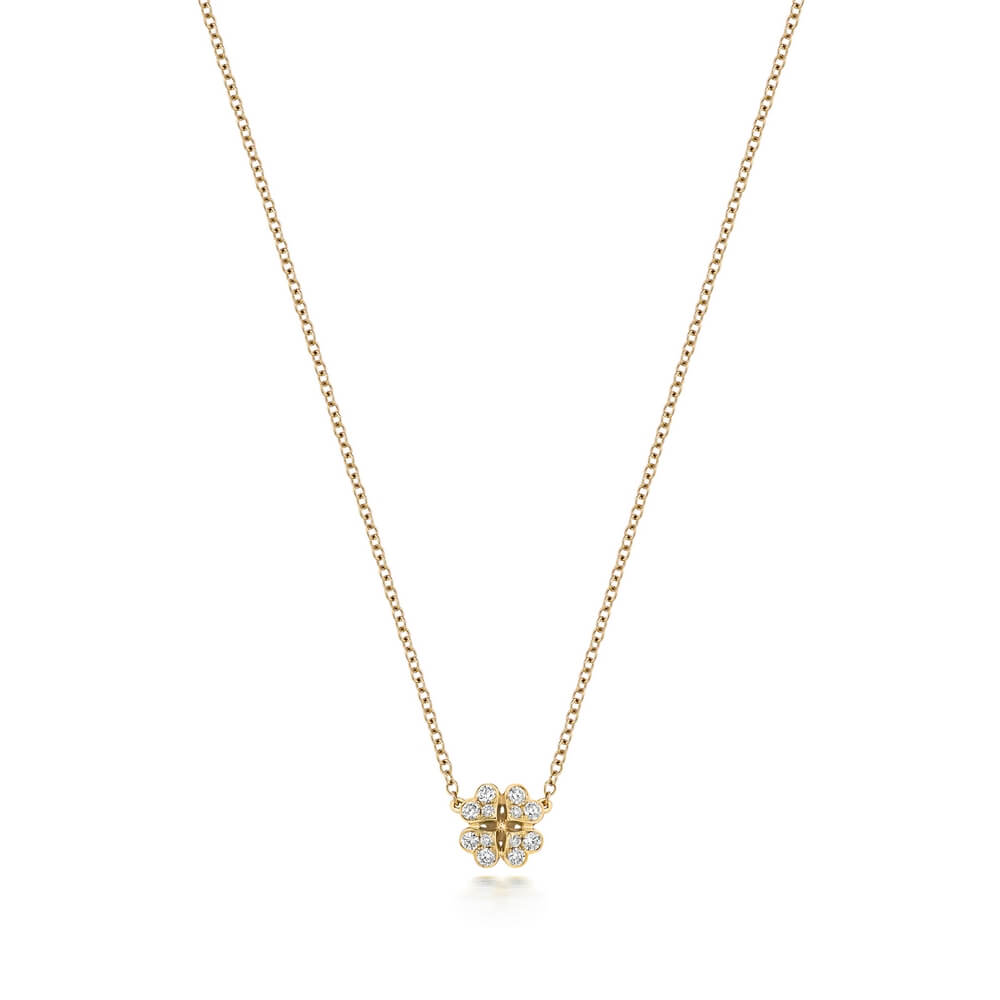 Clover Motif Diamond Necklace in 18ct Yellow Gold (0.17ct)
