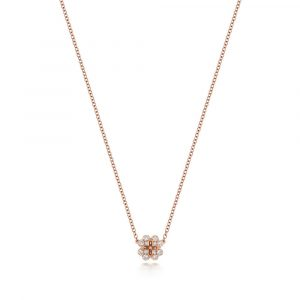 Clover Motif Diamond Necklace in 18ct Red Gold (0.17ct)
