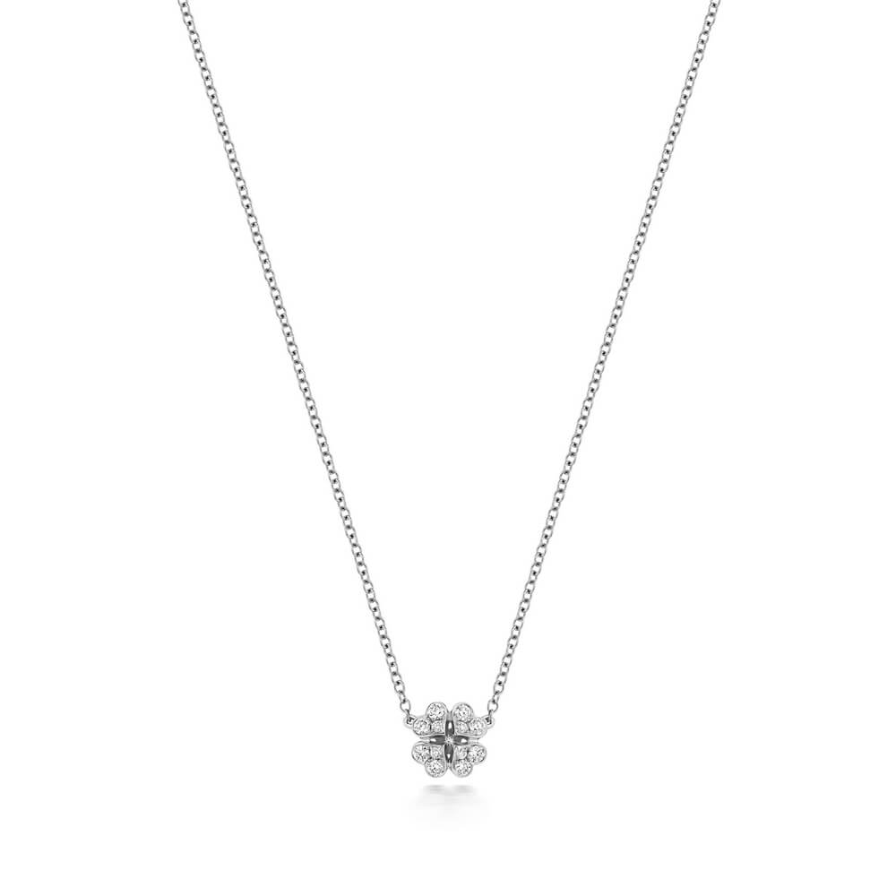 Clover Motif Diamond Necklace in 18ct White Gold (0.17ct)