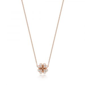 Large Clover Motif Diamond Necklace in 18ct Red Gold (0.51ct)