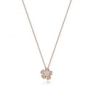Flower Inspired Diamond Necklace in 18ct Red Gold (0.40ct)