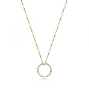 Diamond Circle Design Diamond Necklace in 18ct Yellow Gold (0.27ct)