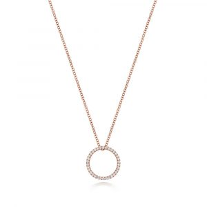 Diamond Circle Design Diamond Necklace in 18ct Red Gold (0.27ct)