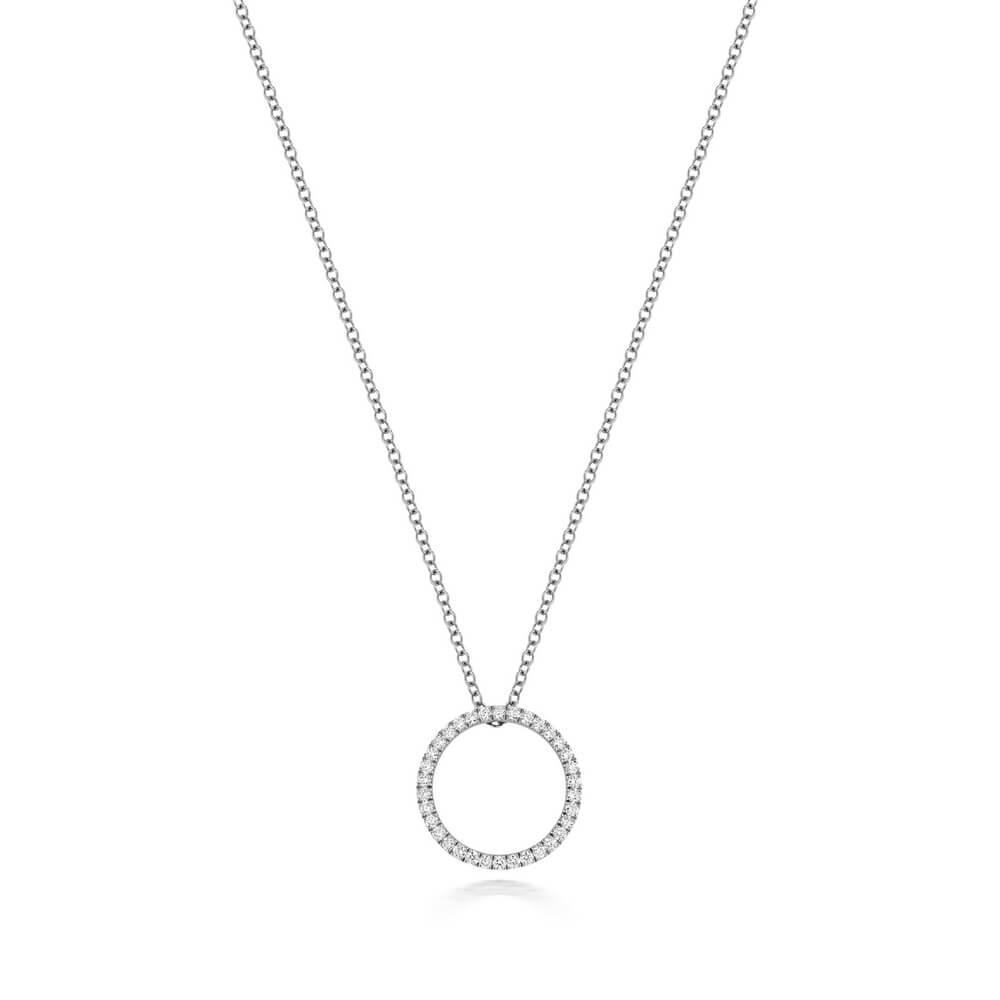 Diamond Circle Design Diamond Necklace in 18ct White Gold (0.27ct)