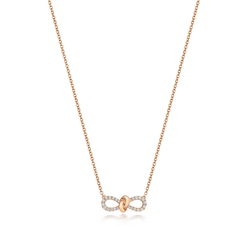 Bow Motif Diamond Necklace 18ct Red Gold (0.19ct)