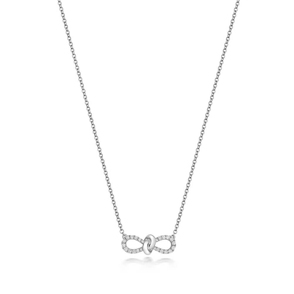 Bow Motif Diamond Necklace 18ct White Gold (0.19ct)