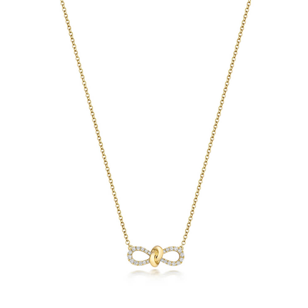 Bow Motif Diamond Necklace 18ct Yellow Gold (0.19ct)