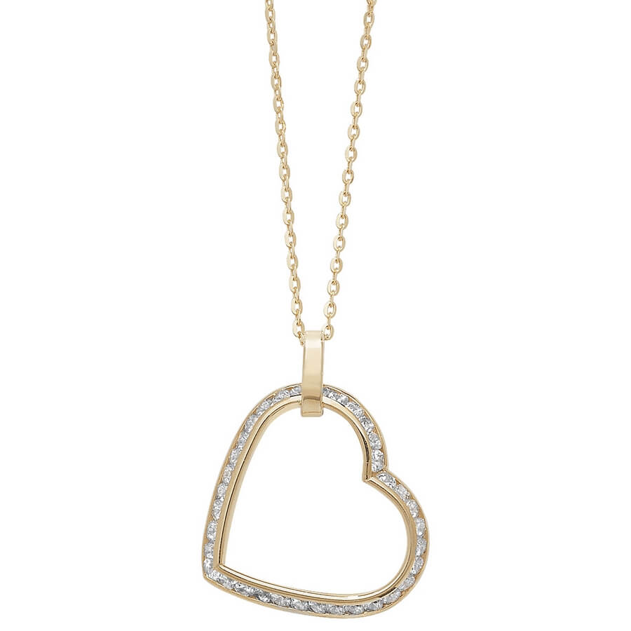 Cubic Zirconia set 18 inch 9ct Yellow Gold Heart Necklace