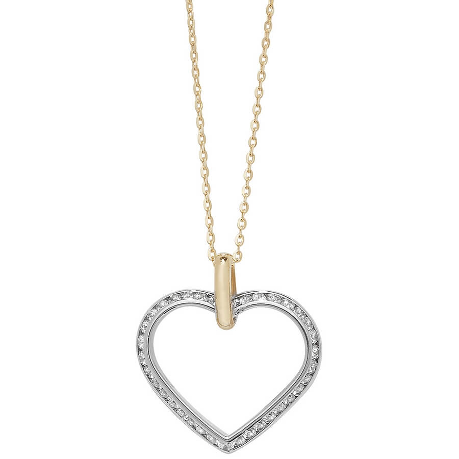 Cubic Zirconia set 18 inch 9ct Yellow and White Gold Heart Necklace