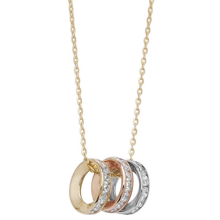 Tri-Colour Ring Necklace in 9ct Yellow, Red and White Gold