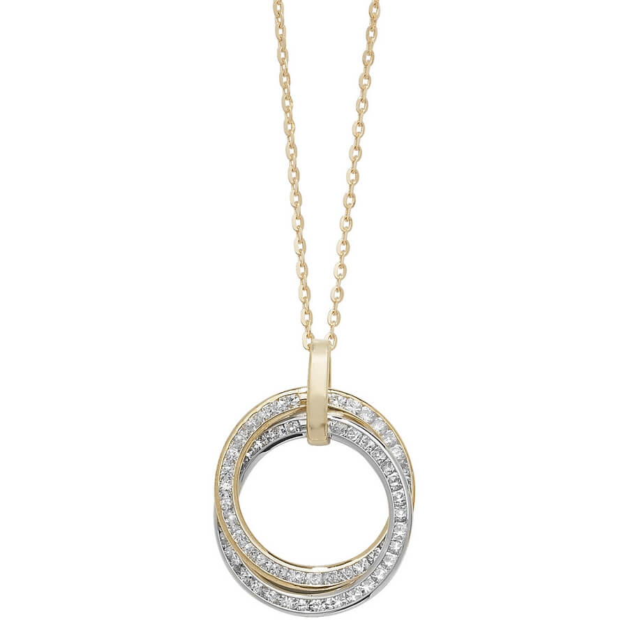 Cubic Zirconia set 18 inch 9ct Yellow and White Gold Circle Necklace